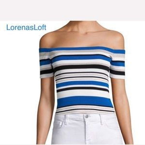 Fitted Off Shoulders Knit Horizontal Striped Top